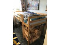 Single mid sleeper bed frame and mattress
