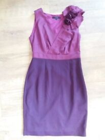Size 12 purple & pink corsage fitted dress from Coast
