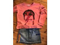 Sweatshirt and Denim mini skirt from Mango Kids, 9-10 years old