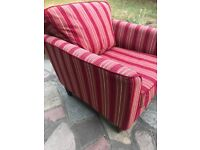 Beautiful red stripey armchair and footstool from Sofa Workshop. Fab condition