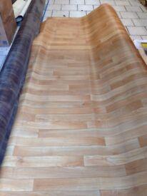 Beech / Oak Effect Vinyl Floor Covering Also Walnut coloured Vinyl Flooring 3mt & 4mt