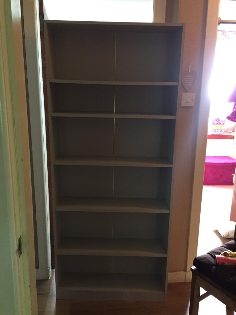 Grey book shelf