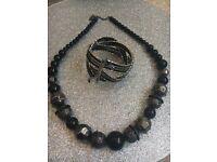 Black and silver necklace & bracelet set