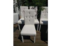 6 Diamante White Dining Chairs