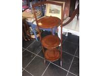LOVELY VINTAGE WOODEN THREE TIER CAKE STAND