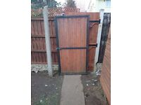 Solid wood and metal gate