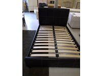 Small Double Brown Faux Leather Bed Frame Copley Mill 2nd Hand Furniture Stalybridge SK15 3DN