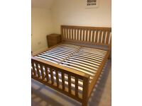 3 Piece Oak Bedroom Furniture Set. Super Kingsize Bed, Chest of Drawers and Two Bedside Tables Set for sale  Wantage, Oxfordshire