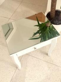 Mirrored top white Side Table