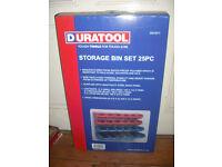 Duratool storage bin set wall mount boxes trays 25 piece box