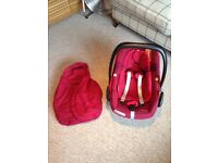 Maxi Cosi Pebble Plus Car Seat in Robin Red with matching Footmuff