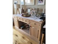 For sale: kitchen dresser in limed oak in good condition with glass shelves in top half