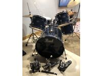 Pearl drum kit double base pedals cymbals stool hi hat stand and more