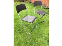 2 IKEA Folding bar stools Franklin brown silver