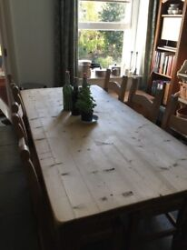 Ideal for Christmas, large 6ft Farmouse table great condition & 6 matching chairs