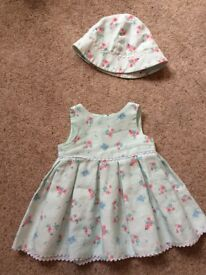 Jasper conran baby girl dress and hat 3-6 months