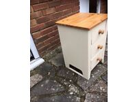 Small solid pine 3 drawer chest