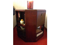 Gorgeous and Unique 1920s Sidetable/Nightsstand in Dark Red Wood & with Great Storage