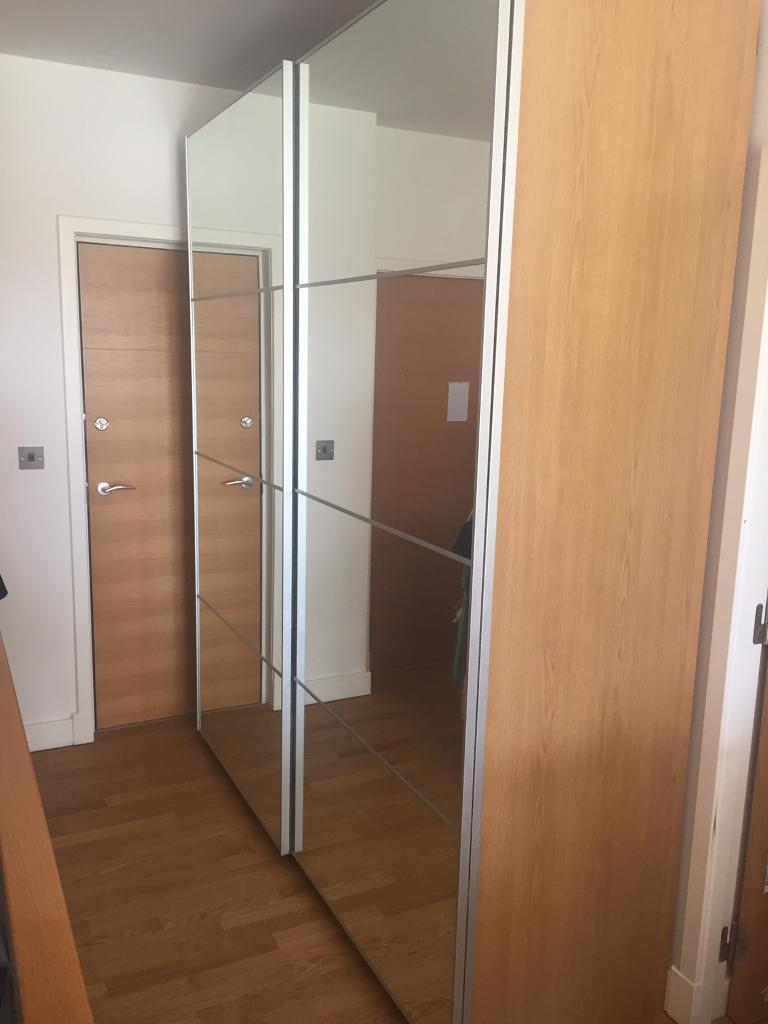 Ikea pax wardrobe oak with sliding glass door in for Sliding glass doors gumtree