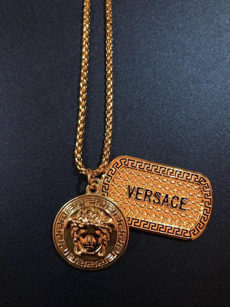 Versace pendant, dog-tag and chain gold   in Sutton Coldfield, West ... bc6aea8caed