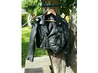 Ladies Vintage Black Leather Cropped Biker Jacket. Large ( looks like a size 14 )