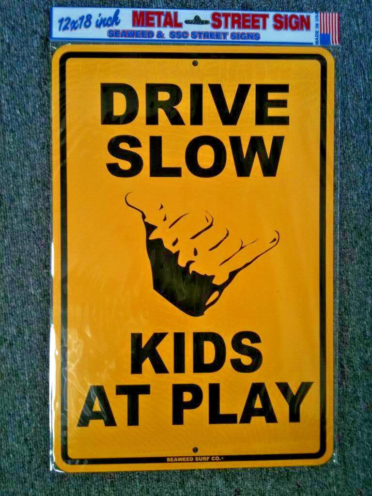 """Kids Beach aluminum surf sign **NEW**  art 18/""""X12/"""" Little Surfer Dude"""