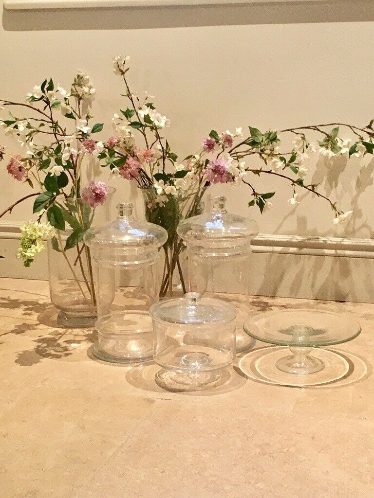 Ornamental candlesticks and decorative glass vases
