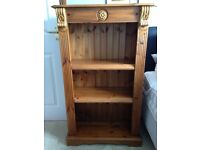 SOLID PINE CARVED BOOKCASE