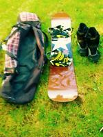 Snowboard, Boots, Bindings, and Bag