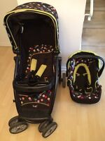 stroller and baby carrier with 2 bases