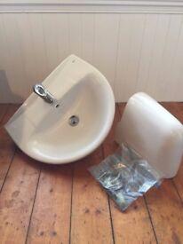 WALL-HUNG BATHROOM SINK & TAP