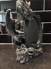 Gothic dragon mirror and candle holder