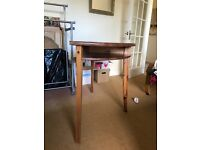 wooden half moon table with three legs