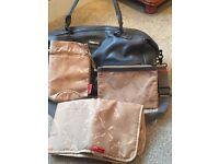 Storksak grey leather baby changing bag