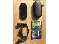 PS Vita Console + 2 Games + Case + Pro Grip + Charging Cable