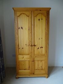 Quality pine wardrobe, dressing table, mirror, stool and bedside cabinet