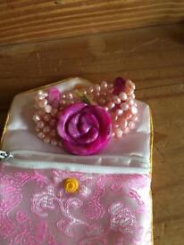 Pink pearl and quartz bracket NEW