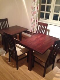 Solid dark wood table and 4 chairs