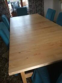 Extendable Ikea Birch Dining table and Six Chairs with Emerald Green Removable Chair Covers