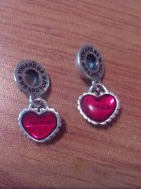 Genuine Pandora Charm Set.. Mother & Daughter Heart Charms