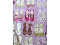 John Lewis, made to measure blackout curtains. Girls pink / lilac curtains with pretty shoes design.