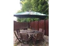 Garden Table, Eight Chairs and Umbrella set