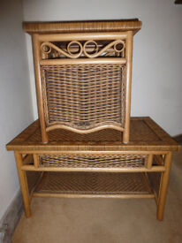 Two Willow Rattan Cane Decorative Woven Tables with Shelves Bedside or Side Table and Coffee Table