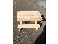 Handmade bespoke children picnic table adjustable and personalised