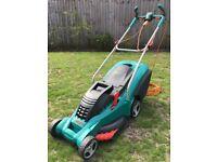 Bosch Rotak 43 Ergoflex Electric Rotary Lawnmower with Rear Roller.