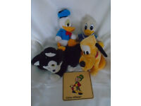 DISNEY SOFT TOYS DONALD DUCK GOOFY CAT FROM PINOCCHIO AND JIMINY CRICKET PLAQUE