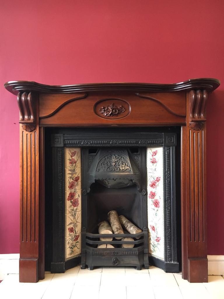 victorian cast iron fireplace oak surround edwardian log fire