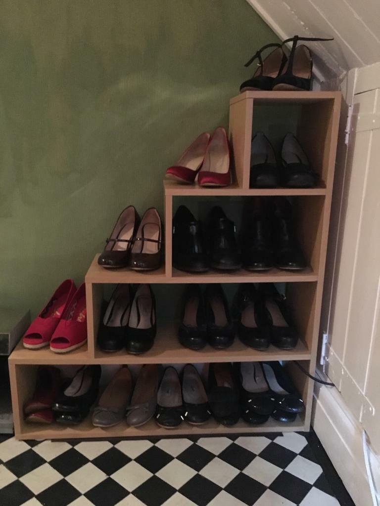 Funky Wall Lights >> Oak colour under stairs triangle shoe rack storage | in ...