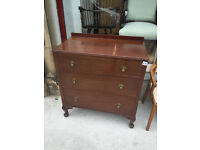 Vintage Chest of Drawers , with queen anne feet , 3 drawers .- Free Local Delivery