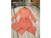 Pretty little thing peach jumpsuit size 8